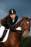 Meisje met haar paard Royalty-vrije Stock Foto's