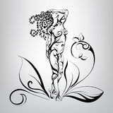 Meisje met haar van vegetatie Vector illustratie Royalty-vrije Stock Afbeelding