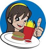 Meisje met hamburger en frieten Stock Afbeeldingen