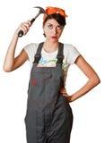 Meisje met hamer Stock Foto