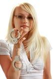 Meisje met handcuffs Royalty-vrije Stock Foto's
