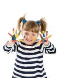 Meisje met handen die in een verf worden bevuild. Royalty-vrije Stock Foto