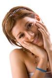 Meisje met handen op gezicht Stock Foto