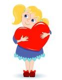 Meisje met hart Stock Afbeelding