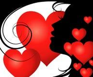 Meisje met hart Stock Foto's