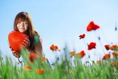 Meisje met hart Royalty-vrije Stock Foto