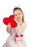 Meisje met hart-Gevormd Hoofdkussen Royalty-vrije Stock Afbeeldingen