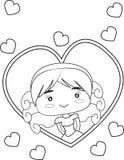 Meisje met harten royalty-vrije illustratie