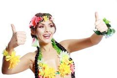 Meisje met Hawaiiaanse omhoog duimen Stock Foto's