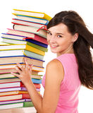 Meisje met het boek van de stapelkleur. royalty-vrije stock afbeeldingen
