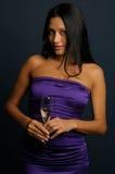 Meisje met het glas Stock Foto