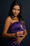 Meisje met het glas Stock Foto's