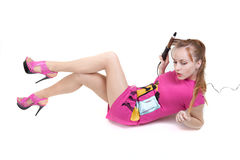 Meisje met het krullen stock fotografie