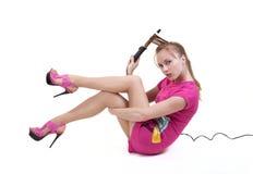 Meisje met het krullen stock foto's