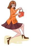 Meisje met het shoping van zak Stock Foto's