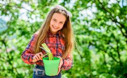 meisje met het tuinieren hulpmiddelen De Dag van de aarde De zomerlandbouwbedrijf Gelukkige kinderjaren het land van het de lente royalty-vrije stock foto