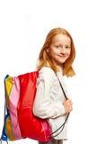Meisje met het winkelen zak Stock Afbeelding