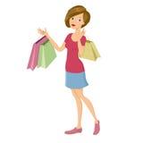 Meisje met het winkelen zakken - Sally Stock Afbeeldingen