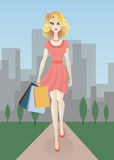 Meisje met het winkelen zakken - Sally Royalty-vrije Stock Foto's