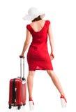 Meisje met hoed en bagage Stock Afbeelding