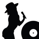 Meisje met hoeden zingende illustratie Stock Afbeeldingen