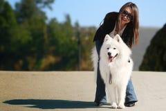 Meisje met hond Stock Afbeeldingen
