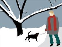 Meisje met hond stock illustratie