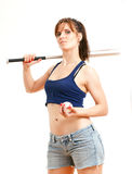 Meisje met honkbalknuppel Royalty-vrije Stock Afbeelding