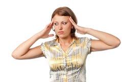 Meisje met hoofdpijn stock afbeelding