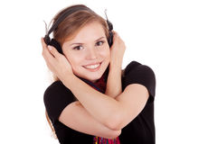 Meisje met hoofdtelefoons Royalty-vrije Stock Afbeelding