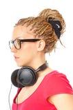 Meisje met hoofdtelefoons stock foto's