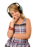 Meisje met hoofdtelefoons Stock Foto