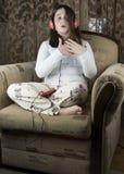Meisje met hoofdtelefoons royalty-vrije stock afbeeldingen