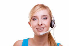 Meisje met hoofdtelefoons en microfoonhoofdtelefoon op wit Royalty-vrije Stock Fotografie