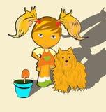 Meisje met huisdieren stock illustratie