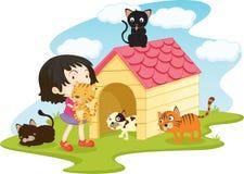 Meisje met huisdierenkatten Stock Afbeeldingen