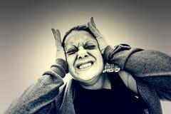 Meisje met hysterie stock afbeeldingen
