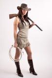 Meisje met jachtgeweer Royalty-vrije Stock Afbeeldingen