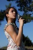 Meisje met kanon royalty-vrije stock foto's