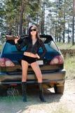 Meisje met kanon royalty-vrije stock foto
