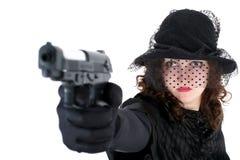 Meisje met kanon Royalty-vrije Stock Afbeeldingen