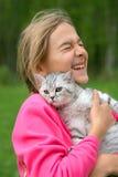 Meisje met kat royalty-vrije stock foto