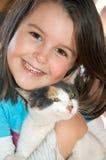Meisje met kat Royalty-vrije Stock Foto's
