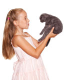 Meisje met kat stock fotografie