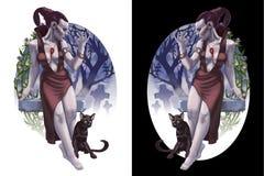 Meisje met kat Royalty-vrije Stock Afbeeldingen