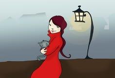 Meisje met kat in de mist Stock Foto