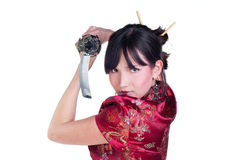 Meisje met katana Royalty-vrije Stock Afbeeldingen