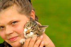 Meisje met katje Stock Foto