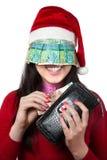 Meisje met Kazakh geld Royalty-vrije Stock Foto