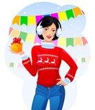 Meisje met Kerstmisgift Royalty-vrije Illustratie